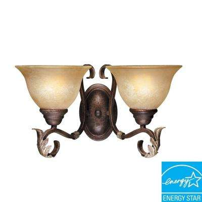 Olympus Tradition Collection 2-Light Crackled Bronze with Silver Sconce
