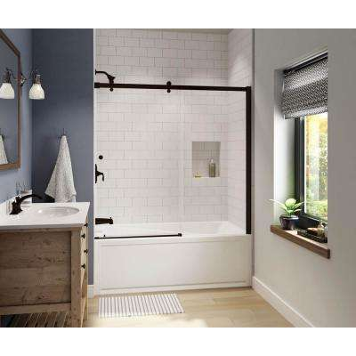 Luminescence 59 in. x 57-1/2 in. Frameless Sliding Tub Door in Dark Bronze