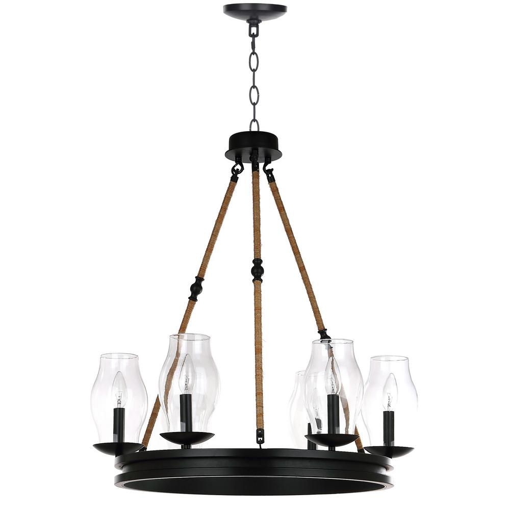 Safavieh Fritz 6-Light Black/Brown Chandelier