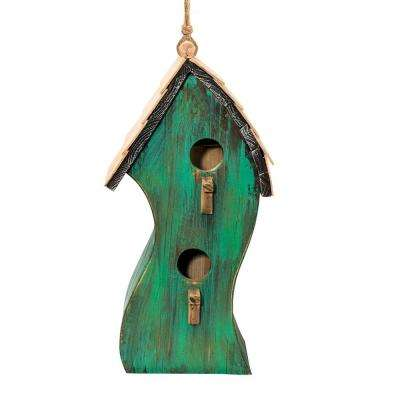 16 in. Tall Alpine Green Swirly Wooden Birdhouse