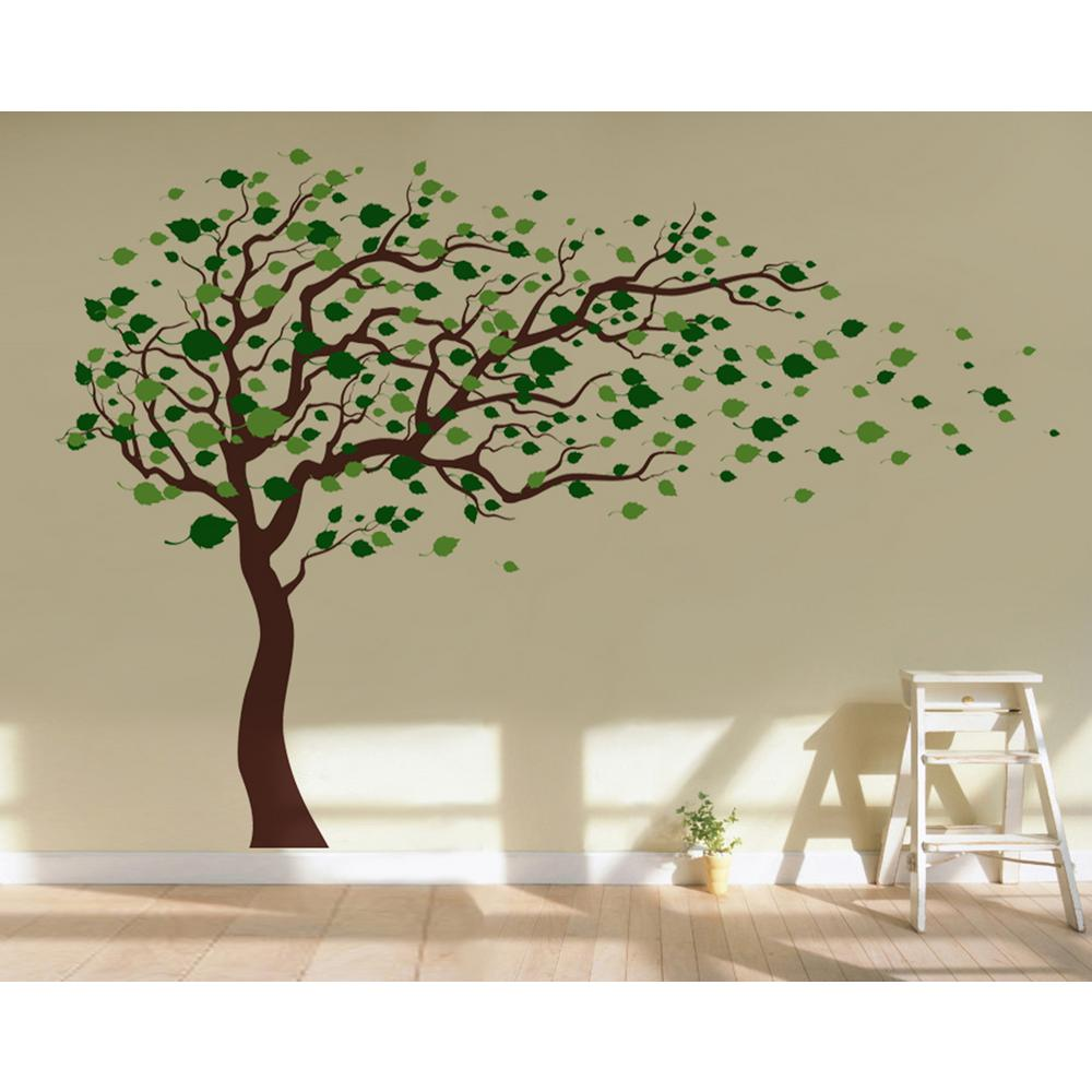 Pop Decors 123 In X 83 In Blowing In The Wind Tree Removable Wall