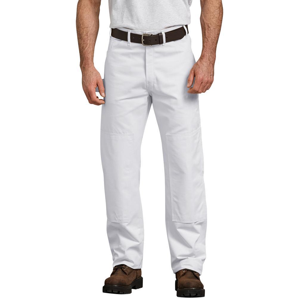 Men's White Painter's Double Knee Utility Pants 44x30