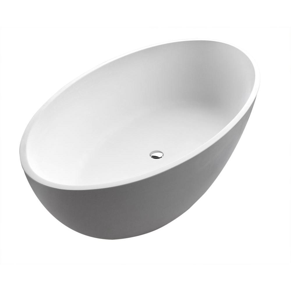 ANZZI Cestino 5.5 ft. Man-Made Stone Center Drain Freestanding Bathtub in Matte White