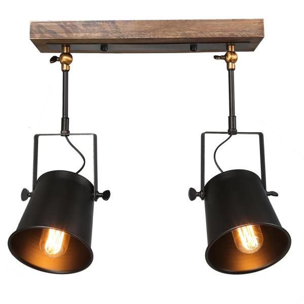 2-Light Wooden Track Lighting Pendant