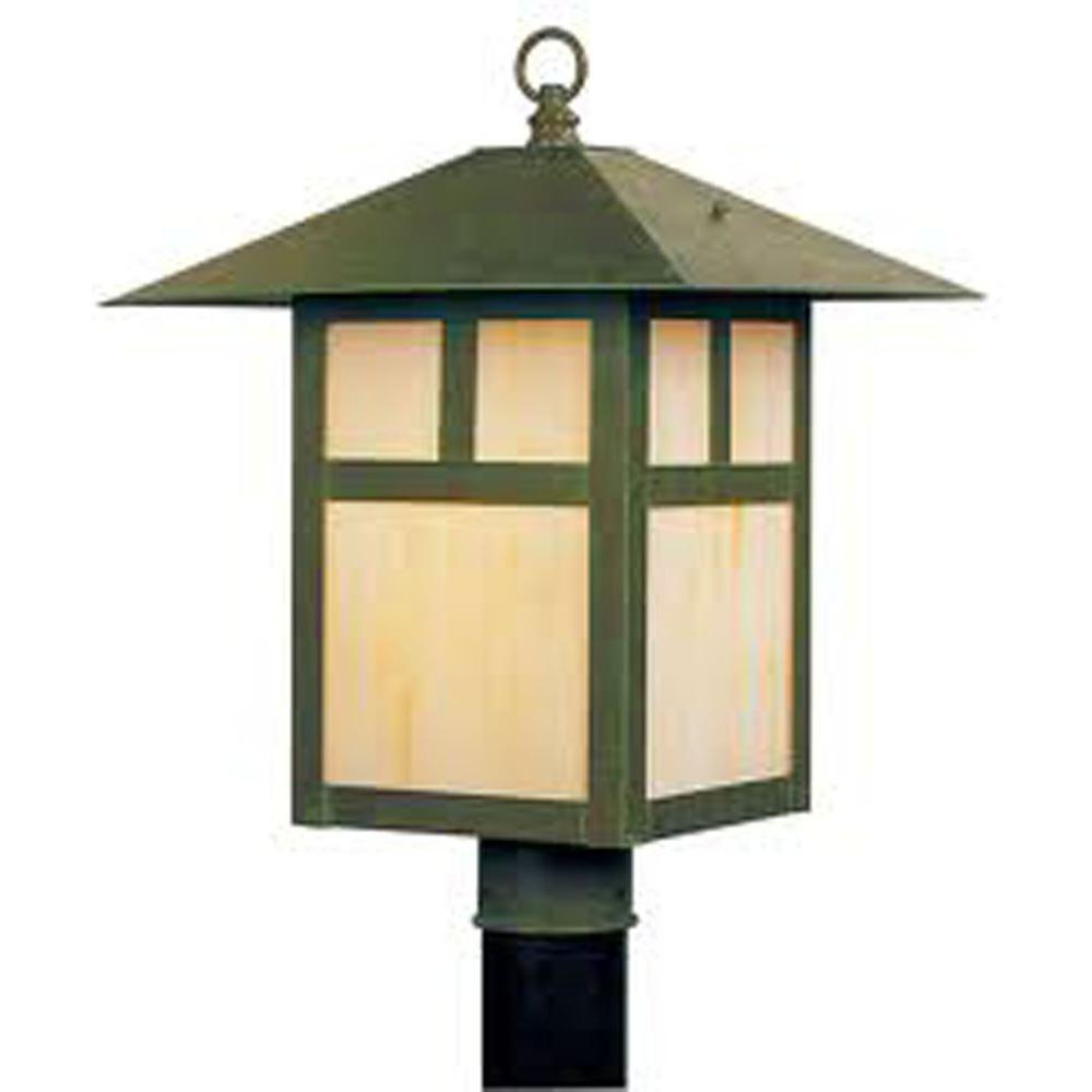 Providence 1-Light Outdoor Green Patina Incandescent Post Lantern