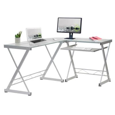 62 in. L-Shaped Clear/Chrome Computer Desk with Keyboard Tray
