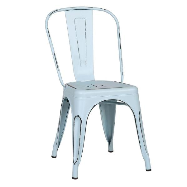Poly and Bark Trattoria Distressed Blue Side Chair