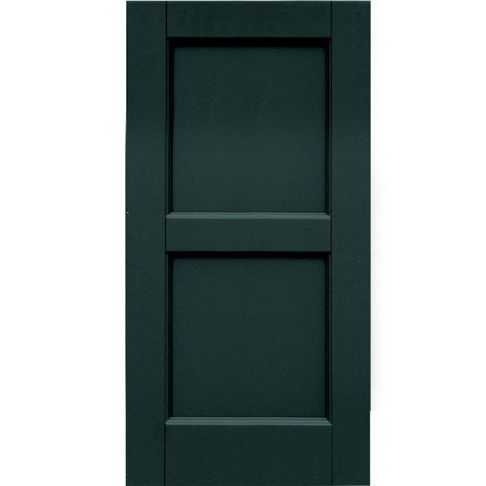 Winworks Wood Composite 15 in. x 30 in. Contemporary Flat Panel Shutters Pair #638 Evergreen