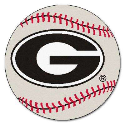 NCAA University of Georgia White 2 ft. Round Indoor Area Rug