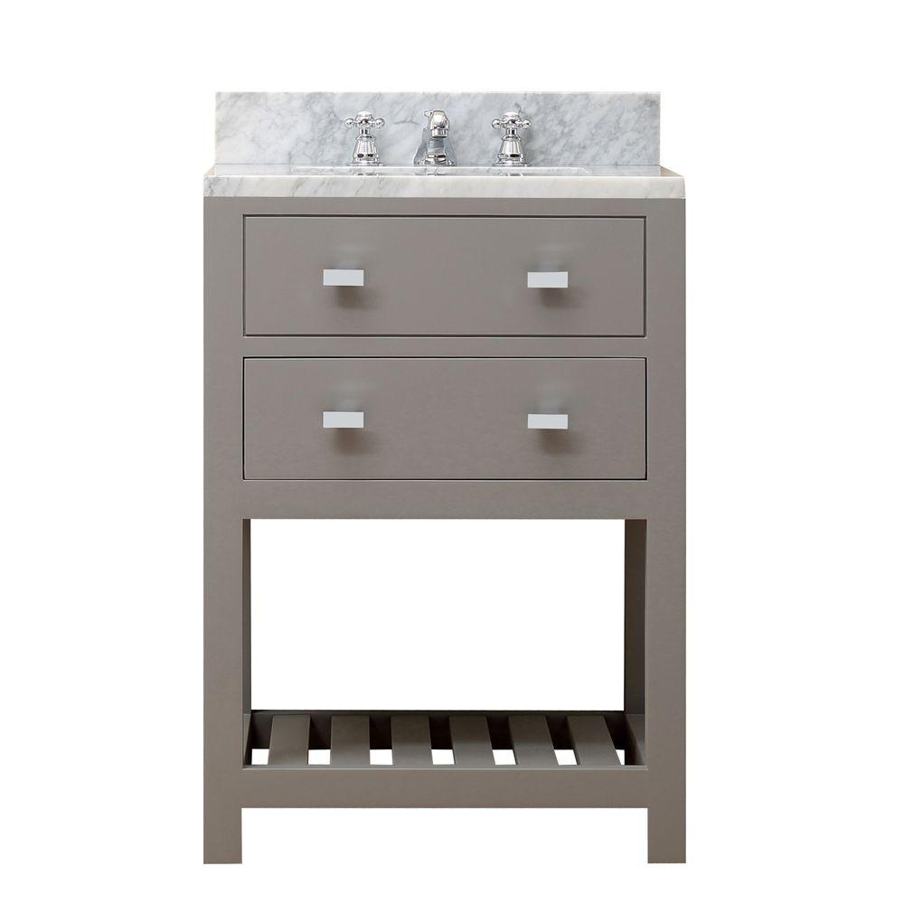 Water Creation 24 in. W x 21.5 in. D Vanity in Cashmere Grey with Marble Vanity Top in Carrara White and Chrome Faucet