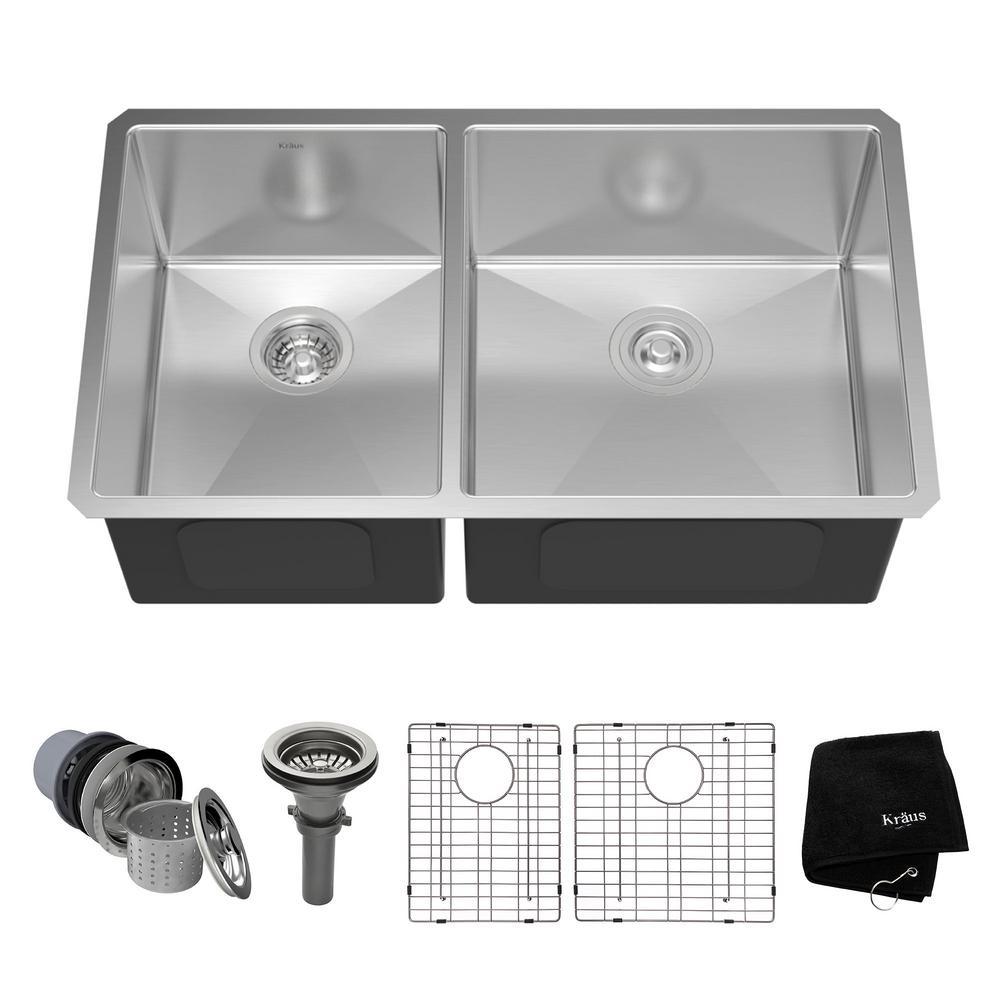 Kraus Undermount Stainless Steel 33 inch 60/40 Double Bowl Kitchen Sink Kit by KRAUS
