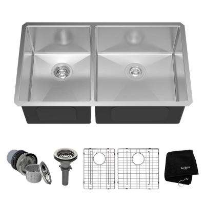 Undermount Stainless Steel 33 in. 60/40 Double Basin Kitchen Sink Kit
