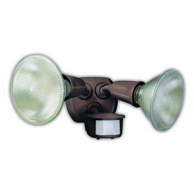 240-Watt 180-Degree Bronze Motion Activated Outdoor Dusk to Dawn Security Flood Light with Twin Head
