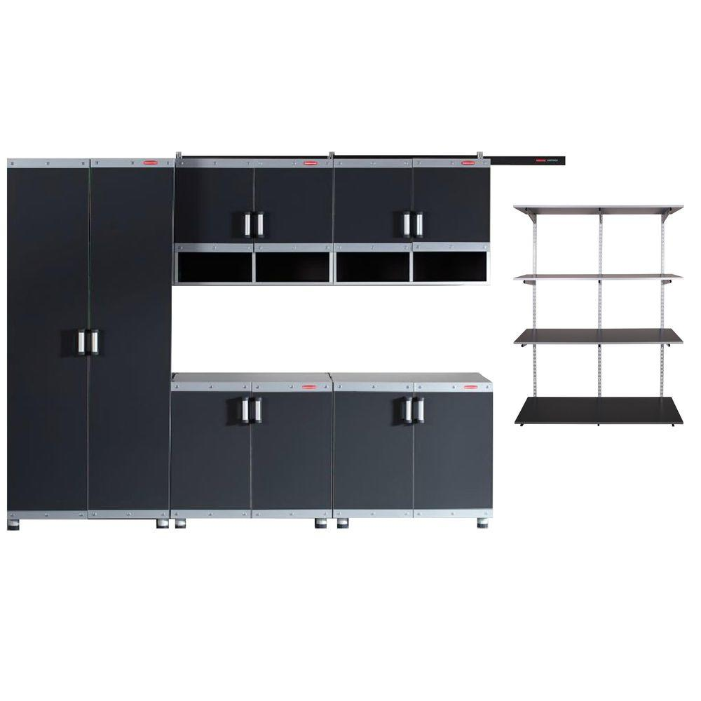 Rubbermaid FastTrack Garage Laminate Cabinet Set with Shelving in ...