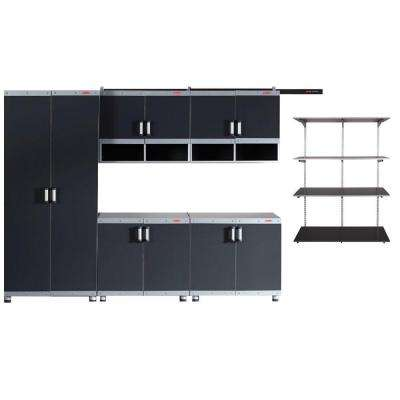 FastTrack Garage Laminate Cabinet Set with Shelving in Black/Silver (5-Piece)