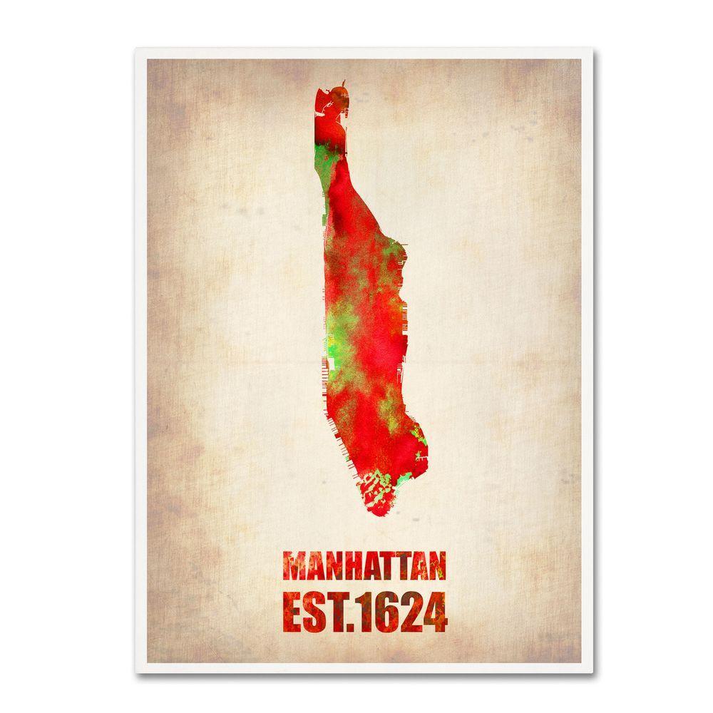 24 in. x 18 in. Manhattan Watercolor Map Canvas Art