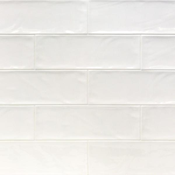 Pier White 4 in. x 12 in. 6 mm Polished Ceramic Subway Wall Tile (33-Piece) (10.76 sq. ft./Box)