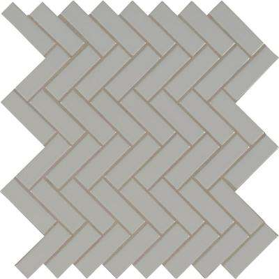 Gray Glossy Herringbone 9.72 in. x 12.52 in. x 10mm Porcelain Mesh-Mounted Mosaic Tile (16.9 sq. ft. / case)
