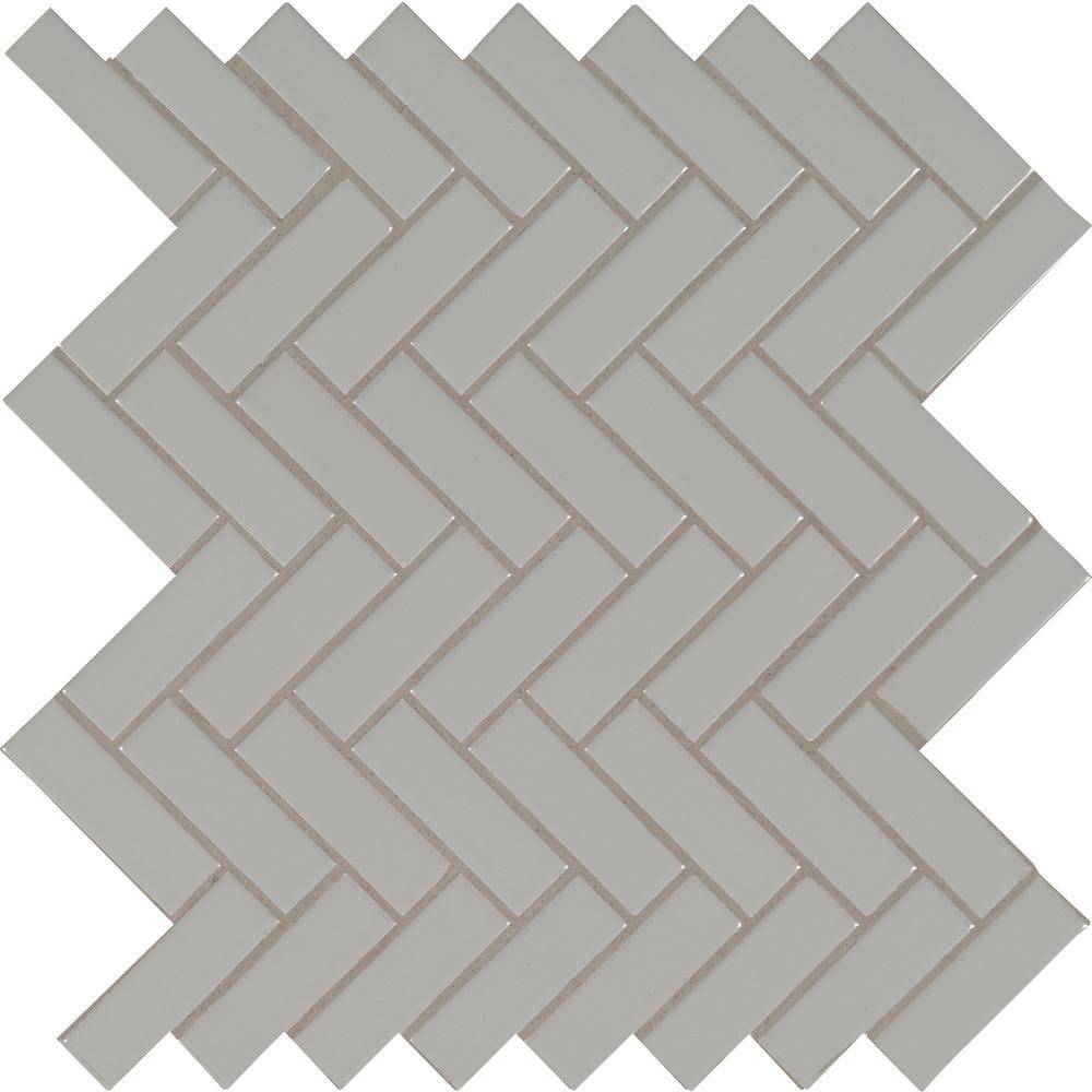 Gray Glossy Herringbone 9.72 in. x 12.52 in. x 10 mm Porcelain Mesh-Mounted Mosaic Tile (16.9 sq. ft. / case)