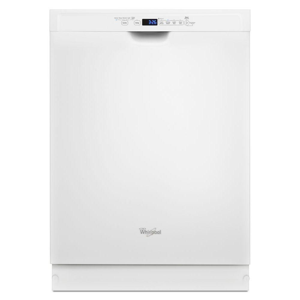 Whirlpool Front Control Dishwasher in White with Stainless Steel Tub