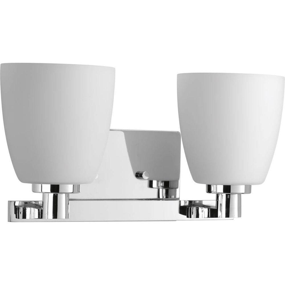 Fleet Collection 2-Light Polished Chrome Bathroom Vanity Light with Glass Shades