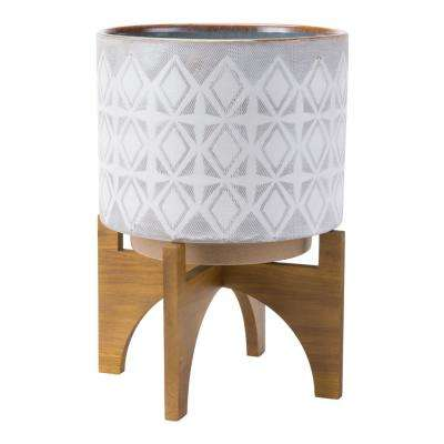10.6 in. W x 14.5 in. H Gray and White Ceramic Planter