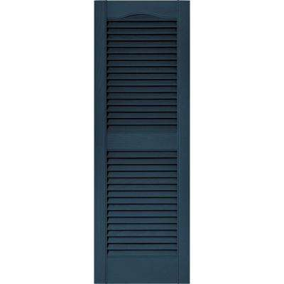 15 in. x 43 in. Louvered Vinyl Exterior Shutters Pair in #036 Classic Blue