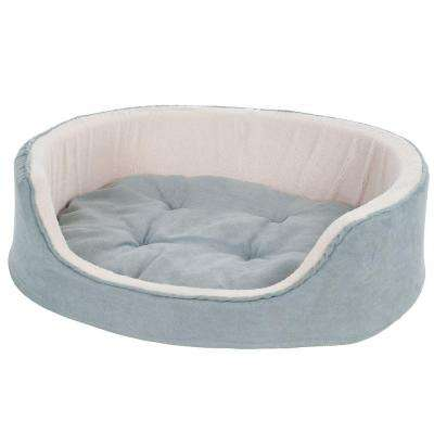 Large Gray Cuddle Round Suede Terry Pet Bed