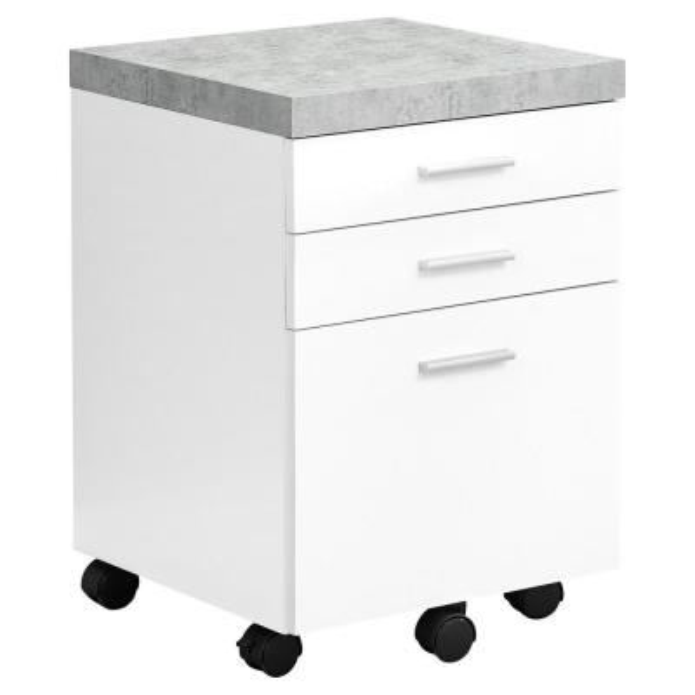Jasmine 1-Piece White,Black and Grey Filing Cabinet