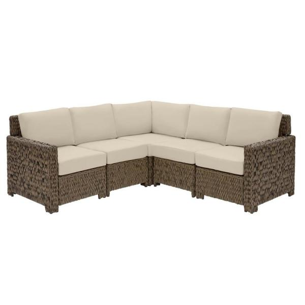 Laguna Point 5-Piece Brown Wicker Outdoor Patio Sectional Sofa Set with CushionGuard Putty Tan Cushions