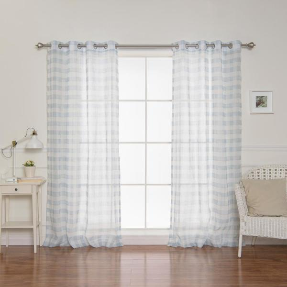 84 in. L Sheer Watercolor Plaid Grommet Curtains in Blue (2-Pack)