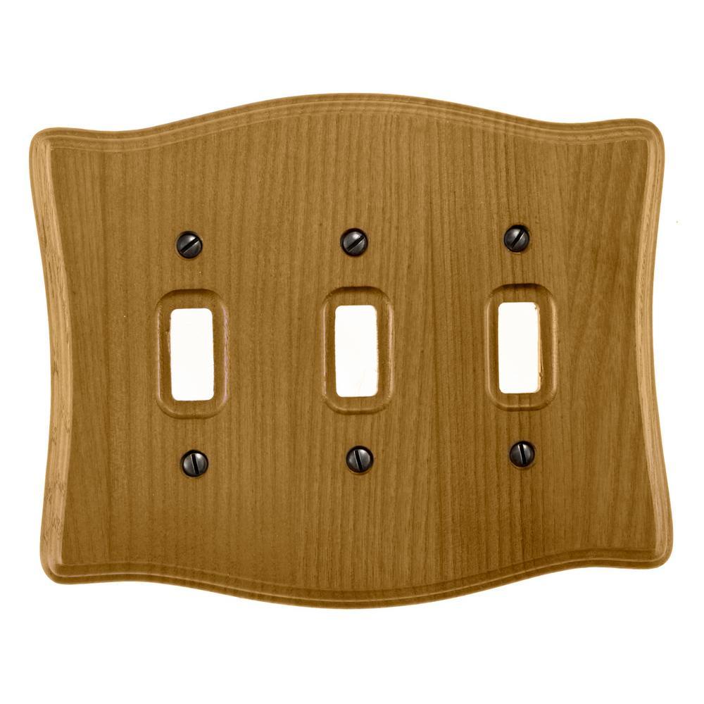 Austin 3 Gang Toggle Wood Wall Plate - Tavern Oak