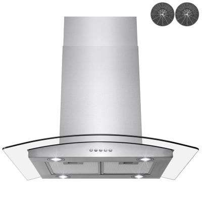 30 in. Convertible Kitchen Island Mount Range Hood in Stainless Steel with Tempered Glass, LED Lights and Carbon Filters