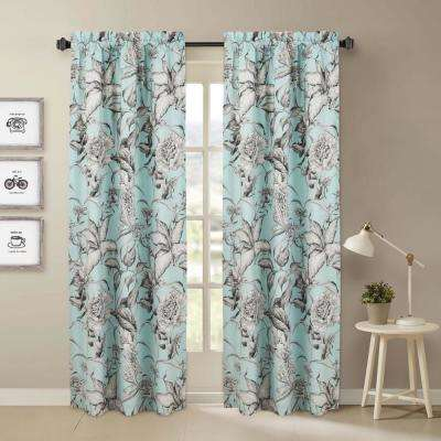 Sketch Blue and Gray Floral Window Pair Panels - 84 in. L x 40 in. W