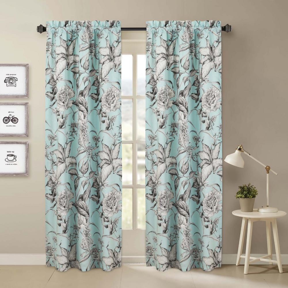 Nouvelle Home Sketch Blue And Gray Floral Window Pair