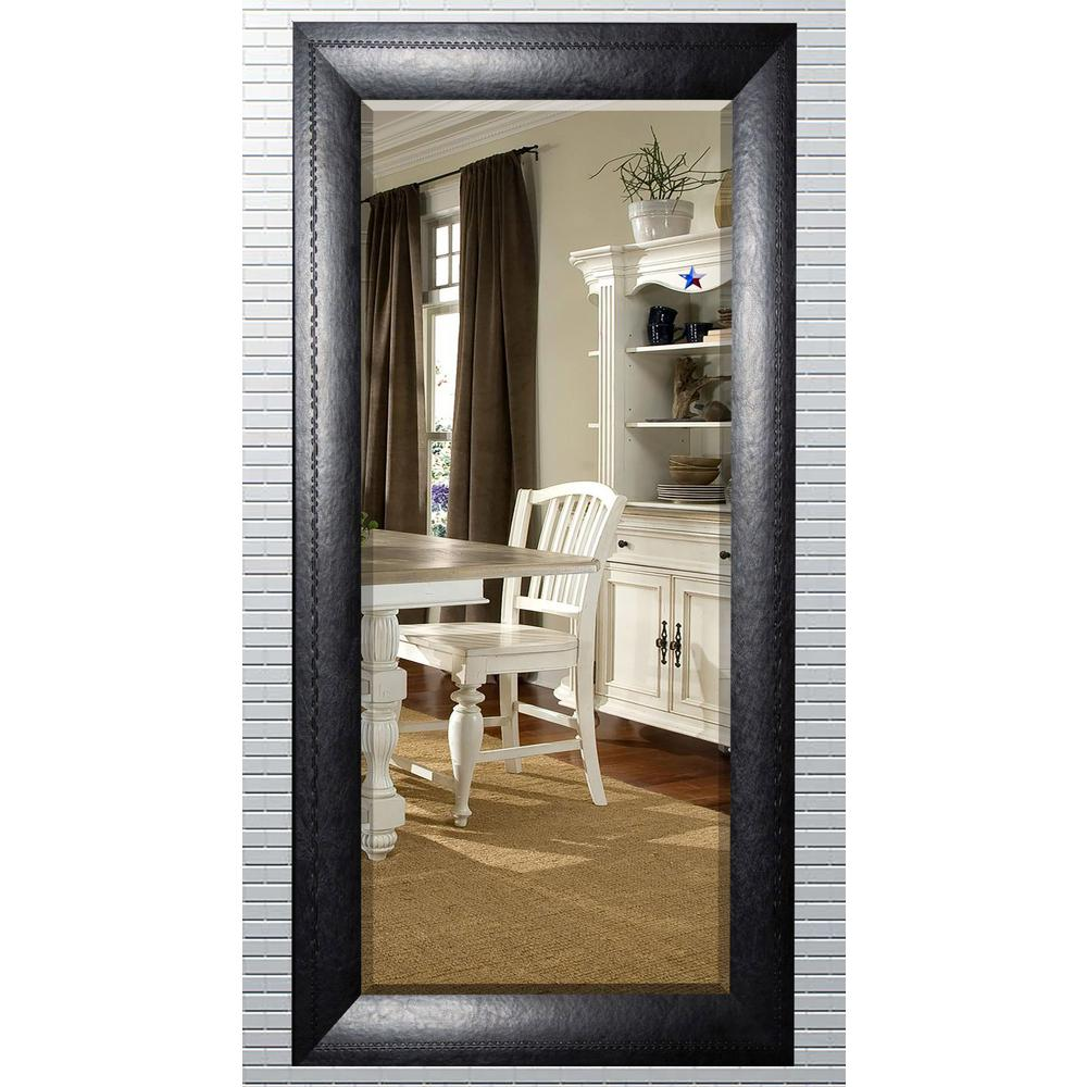 in x in stitched black leather beveled oversized full body mirror h038bxt the. Black Bedroom Furniture Sets. Home Design Ideas