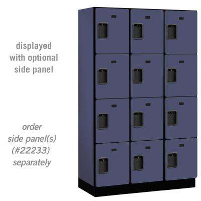 24000 Series 4 Tier 18 in. D Compartments Extra Wide Designer Wood Locker in Blue