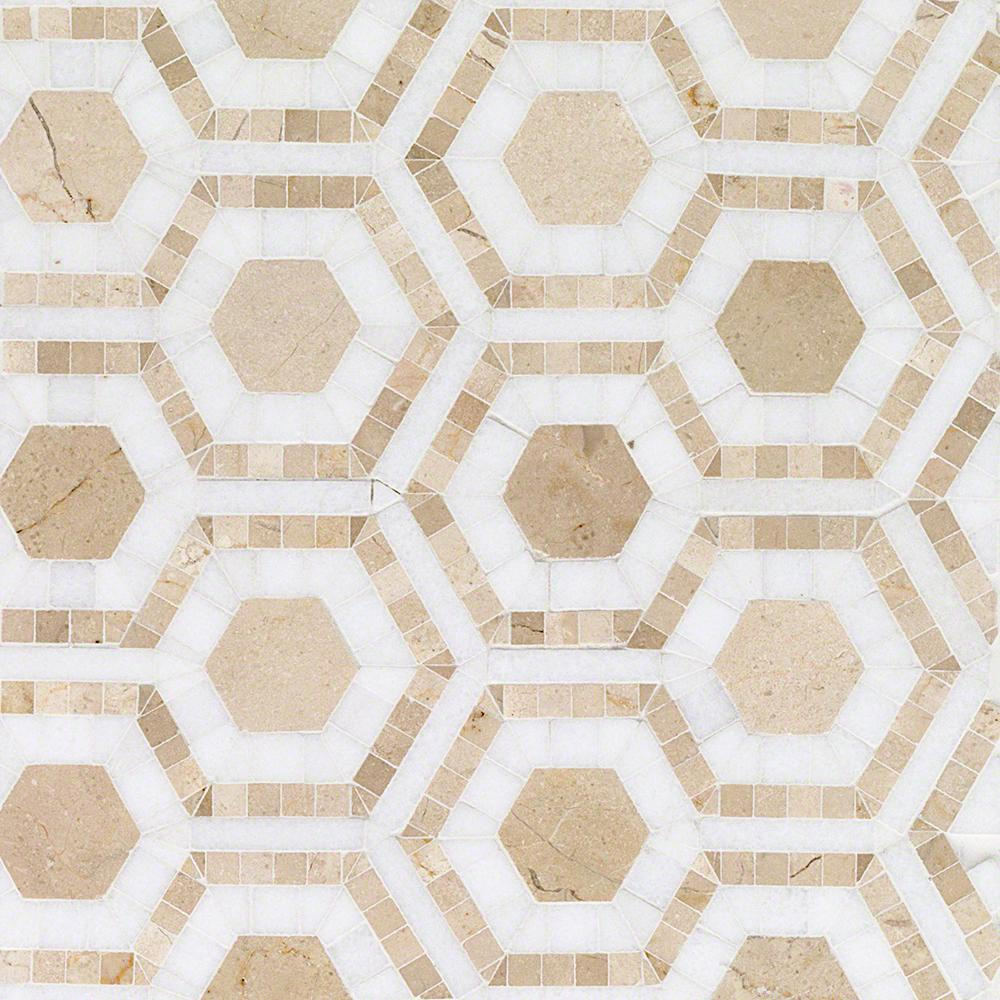 Ivy Hill Tile Kosmos Crema and Thassos Hexagon 11-3/4 in. x 11-3/4 in. x 10 mm Polished Marble Mosaic Tile