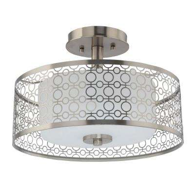 14 in. 1-Light Brushed Nickel Integrated LED Semi-Flushmount with Circular Patterned Outer Shade and Glass Inner Shade