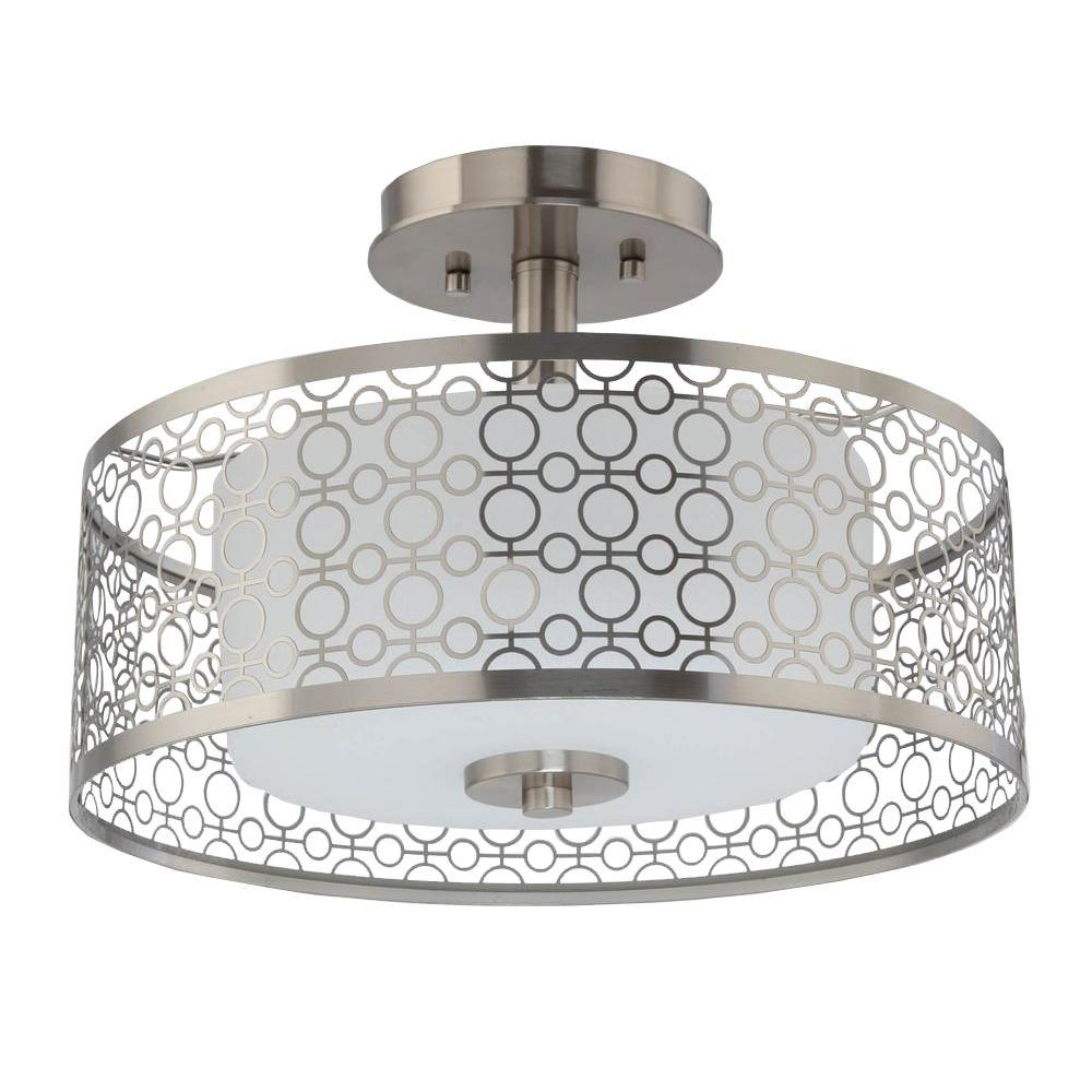 1 Light Brushed Nickel Integrated Led Semi Flushmount With Circular Patterned