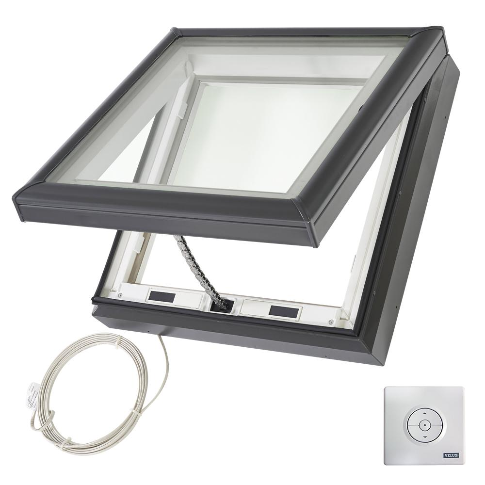 Velux 34 1 2 in x 34 1 2 in fresh air electric venting for Velux glass