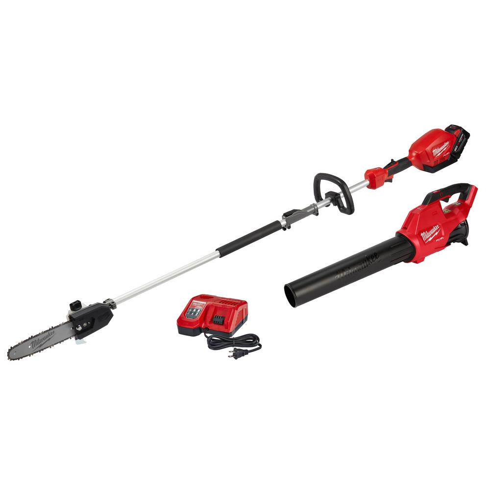 Milwaukee M18 FUEL 18-Volt Lithium-Ion Brushless Cordless 10 in. Pole Saw & Blower Combo Kit w/ Charger & 9.0 Ah Battery (2-Tool)