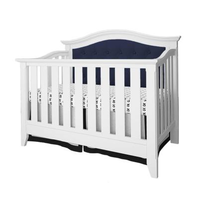 Magnolia White and Navy Upholstered 4-in-1 Convertible Crib