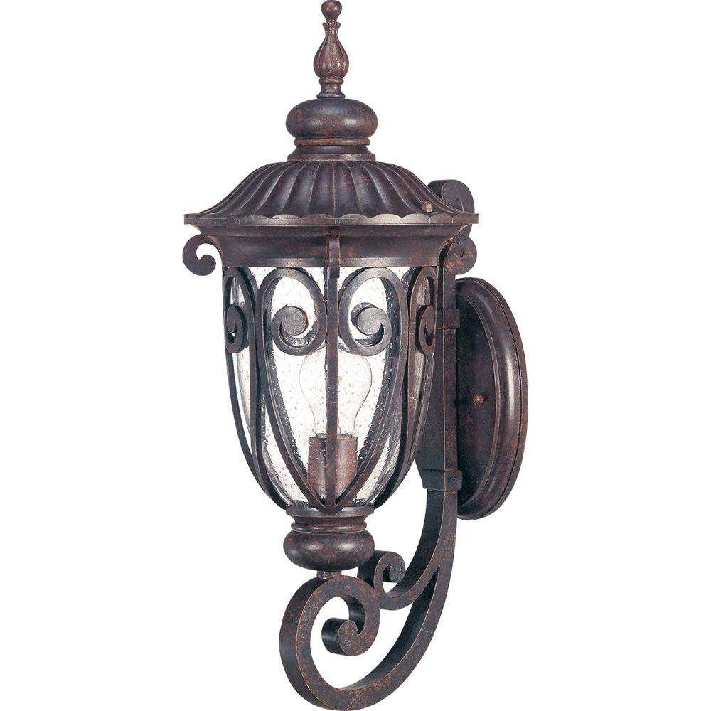 Glomar 1-Light Outdoor Burlwood Mid-Size Wall Lantern Arm Up with Seeded Glass