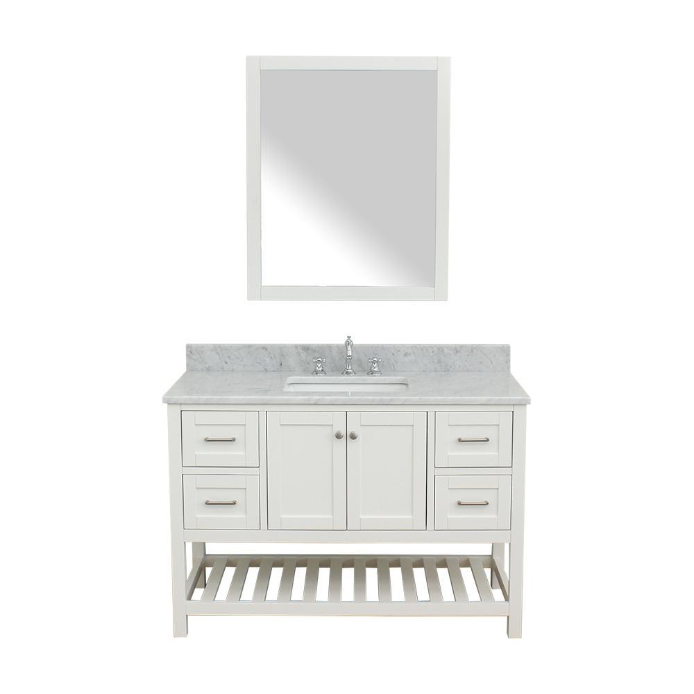 Westchester 49 in. W x 22 in. D Bath Vanity in White with Marble Vanity Top in White with White Basin and Mirror