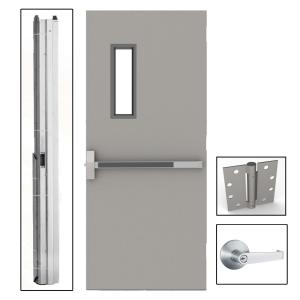 36 In X 80 In Gray Flush Exit With 5x20 Vl Right Hand