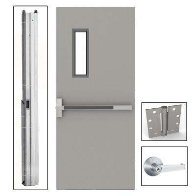 36 in. x 80 in. Gray Flush Exit with 5x20 VL Right-Hand Fireproof Steel Commercial Door with Knockdown Frame