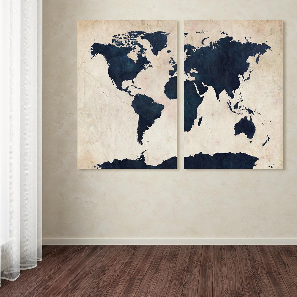 Trademark Fine Art 24 In X 32 In World Map Navy By Michael