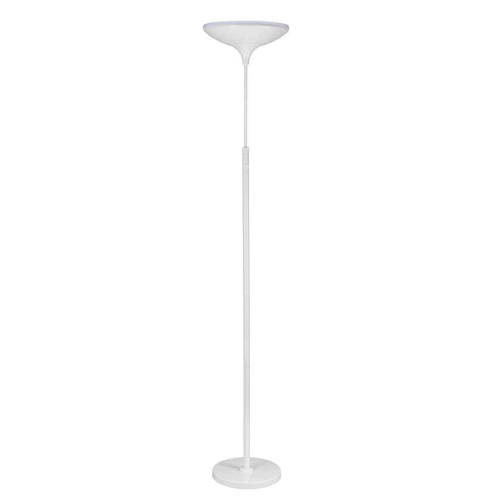 Globe electric 71 in satin white led floor lamp torchiere for Led floor lamp home depot
