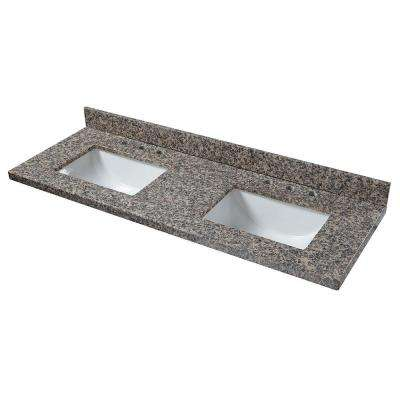 61 in. W Granite Double Sink Vanity Top in Sircolo